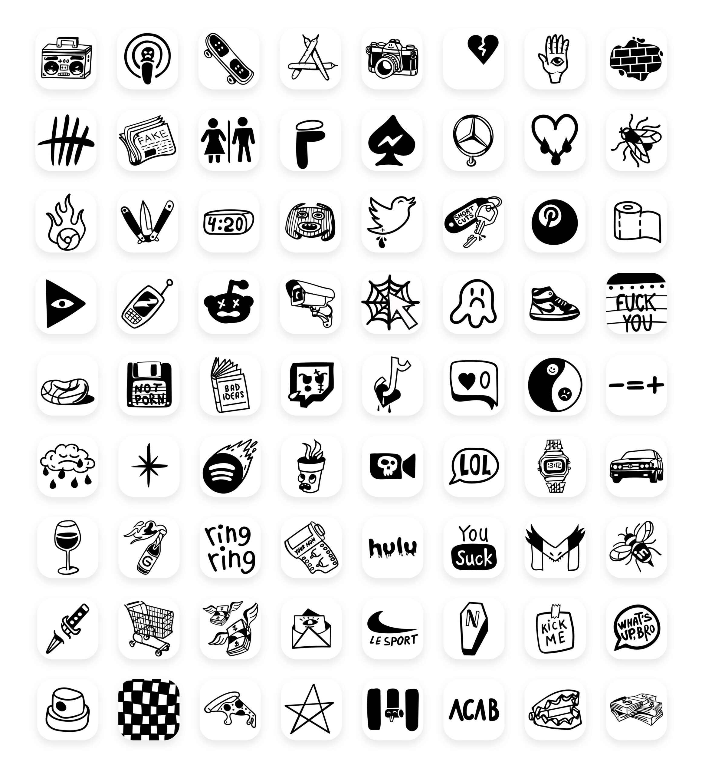 white tattoo app icons pack preview 3