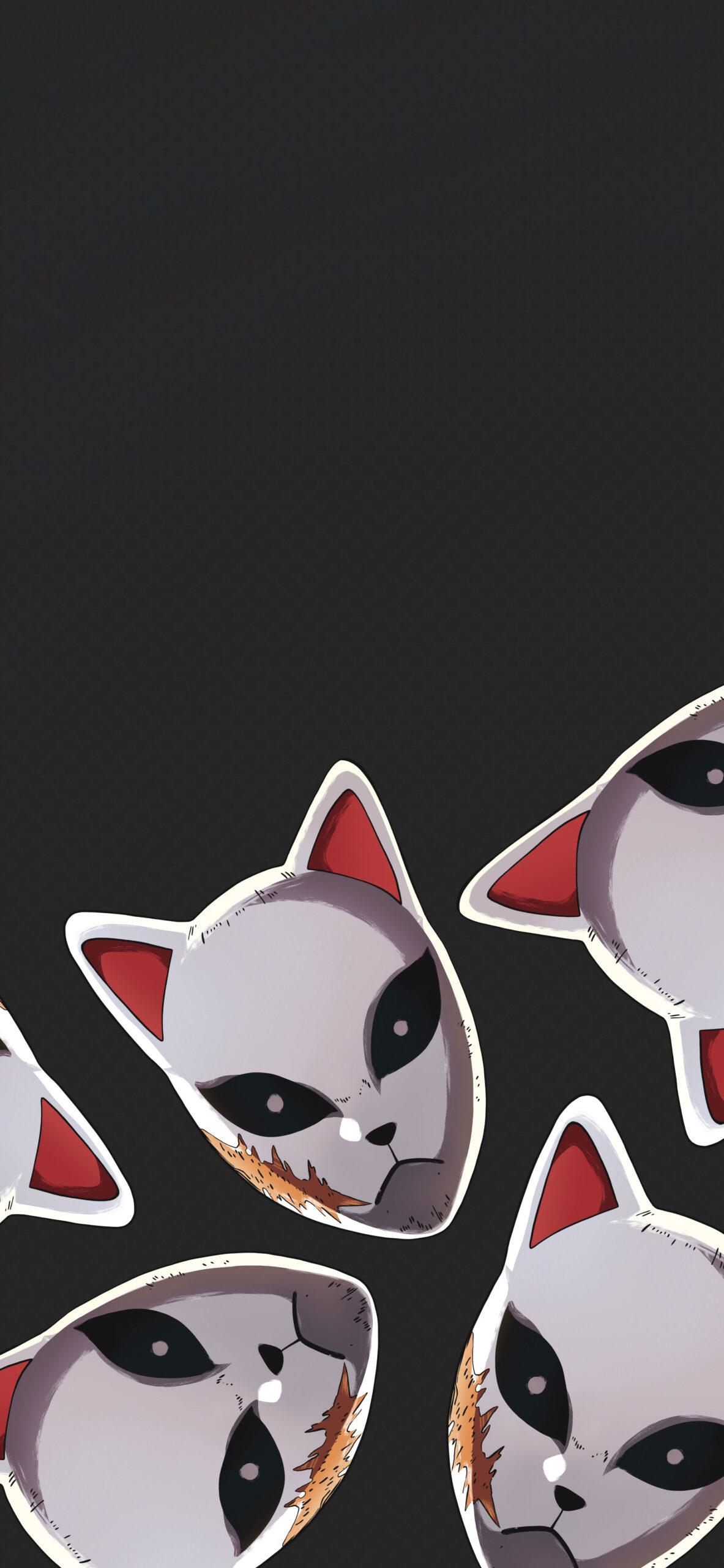 demon slayer sabito fox mask black wallpaper 2