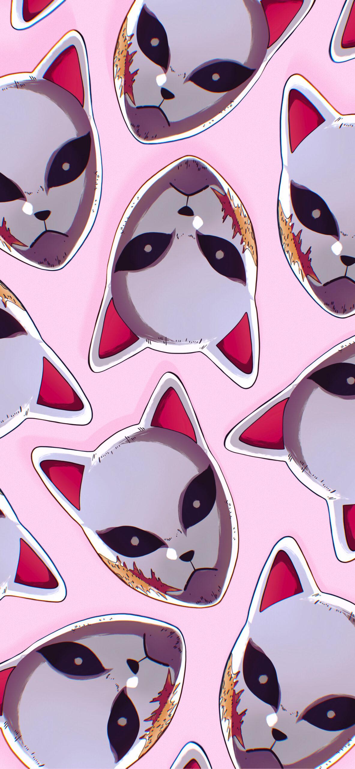 demon slayer sabito fox mask pink wallpaper