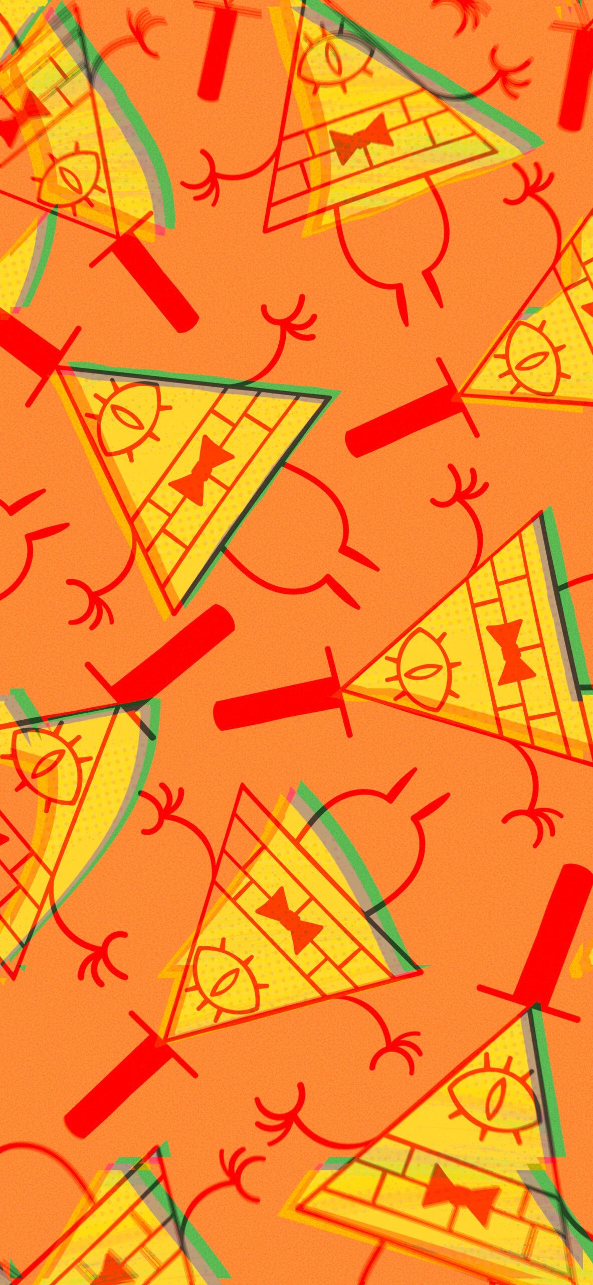 gravity falls bill cipher art orange background