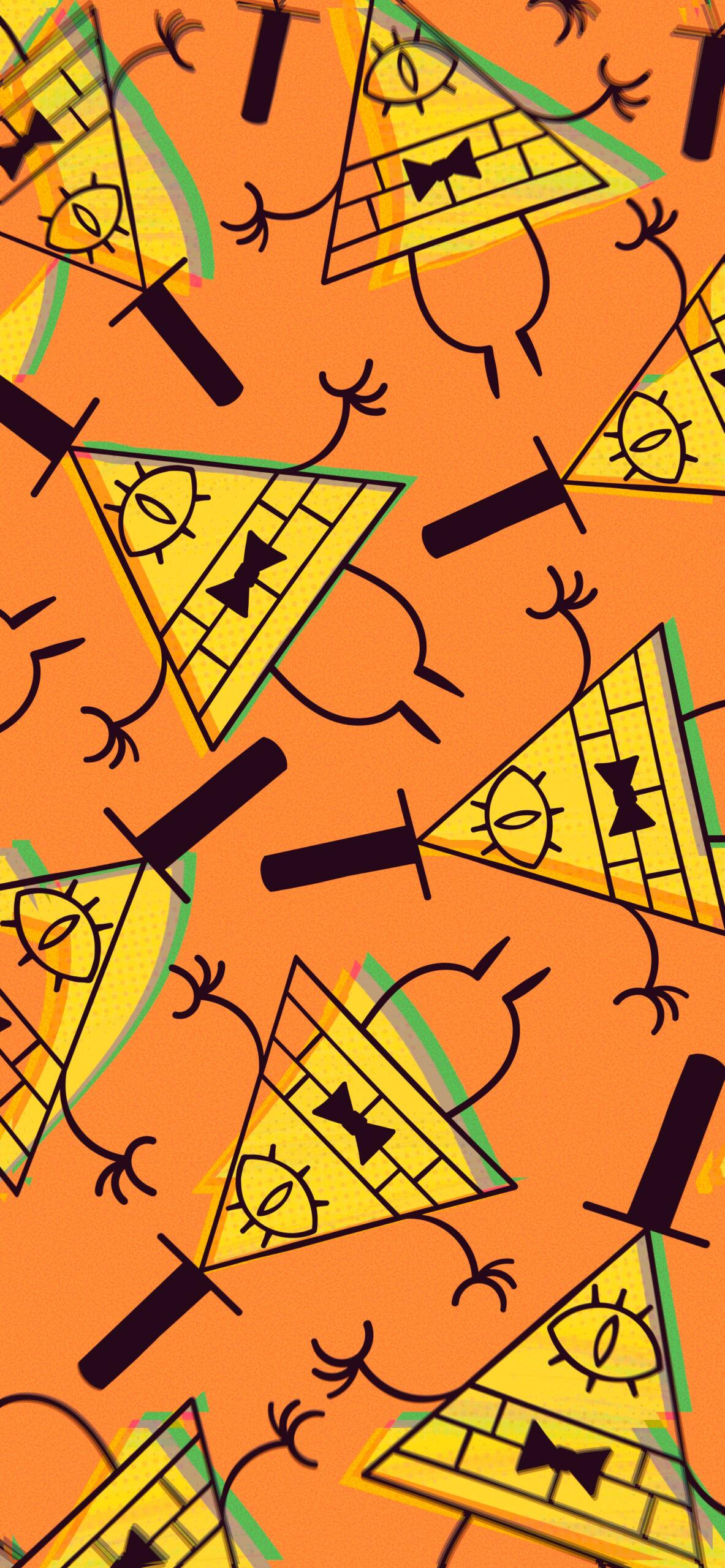 gravity falls bill cipher art orange wallpaper