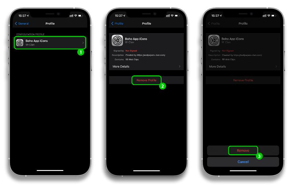 how to delete app icon profile 2