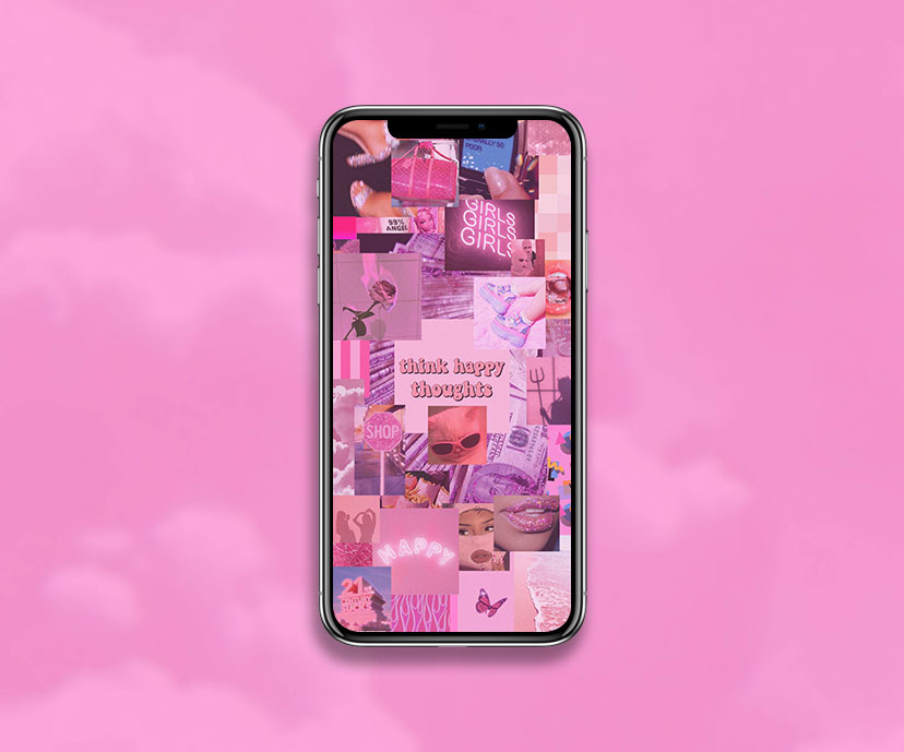 pink aesthetic think happy thoughts wallpapers collection