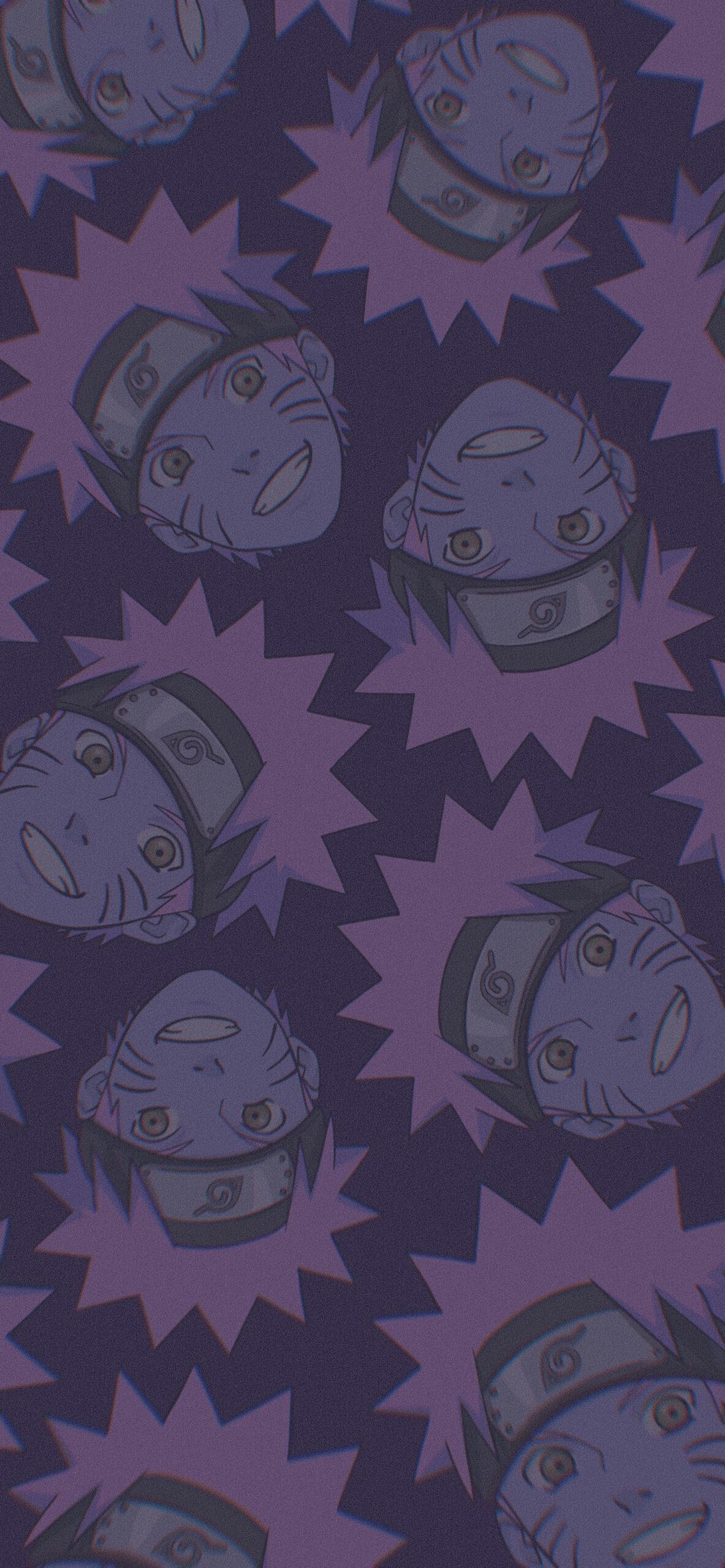 smiling naruto purple background