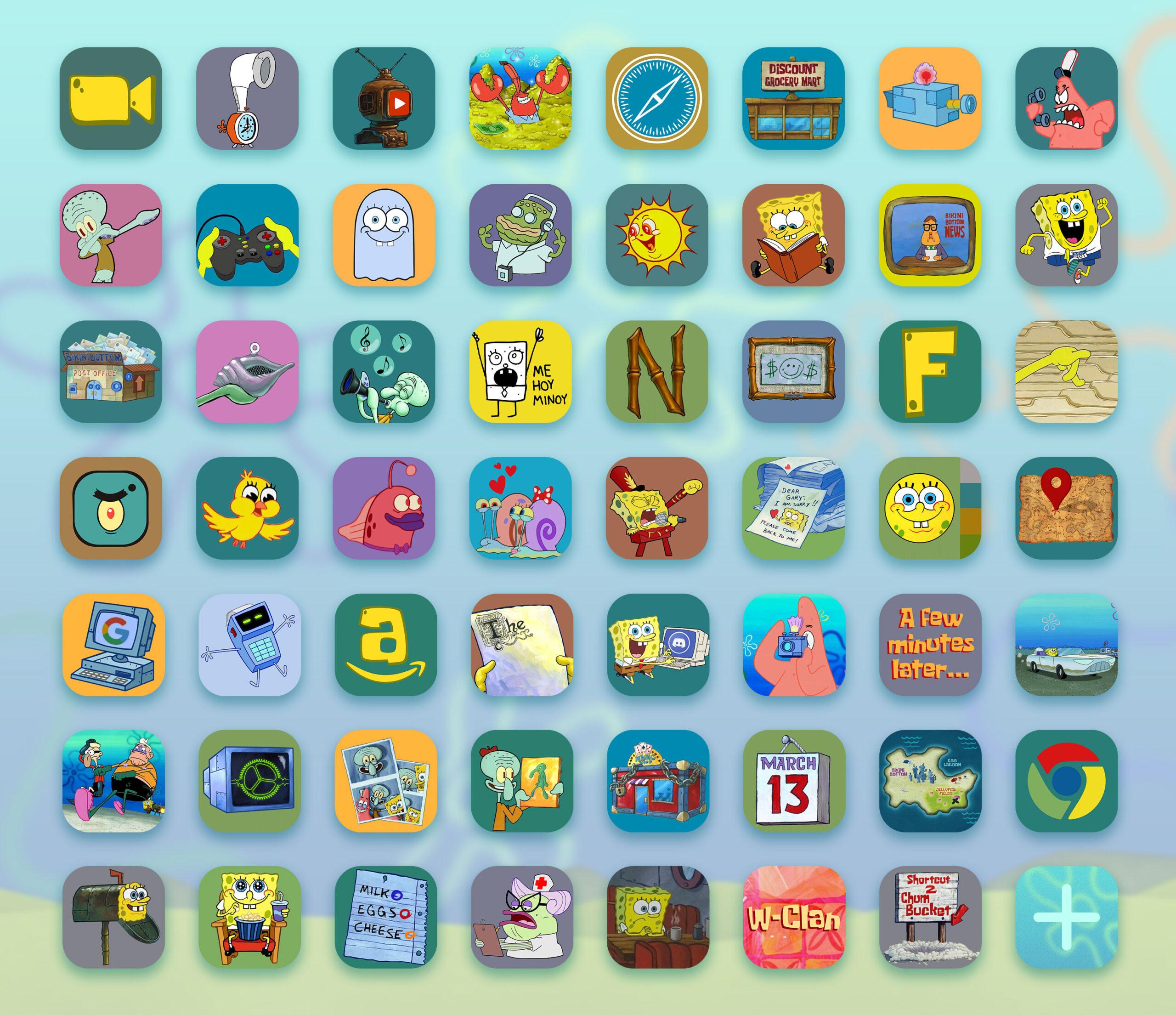 spongebob app icons pack preview 3