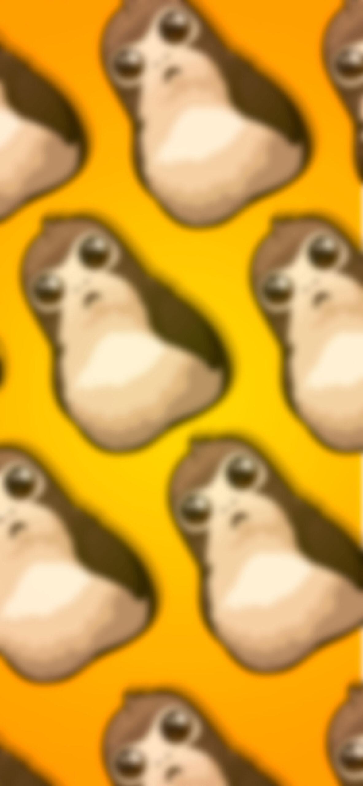 star wars porg yellow blur wallpaper