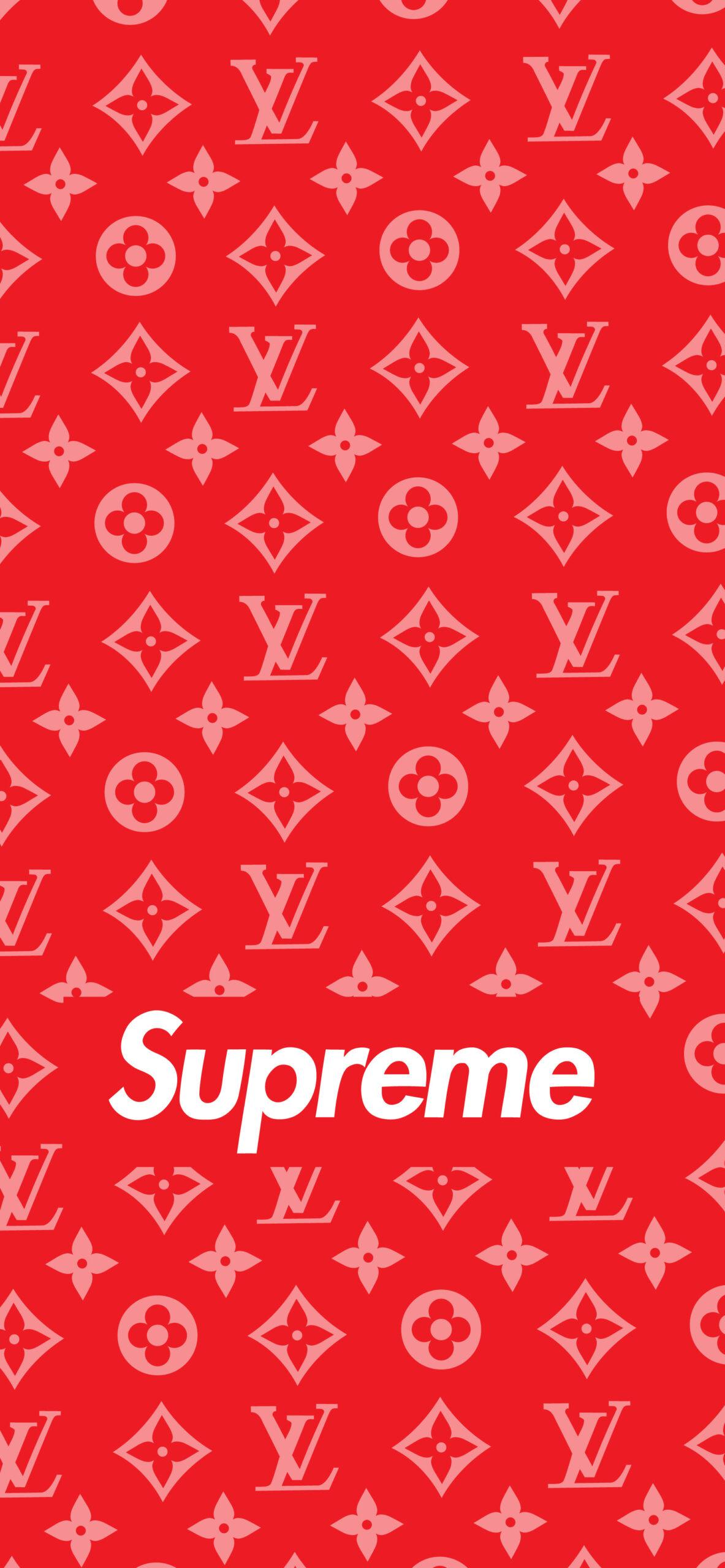 supreme louis vuitton red wallpaper