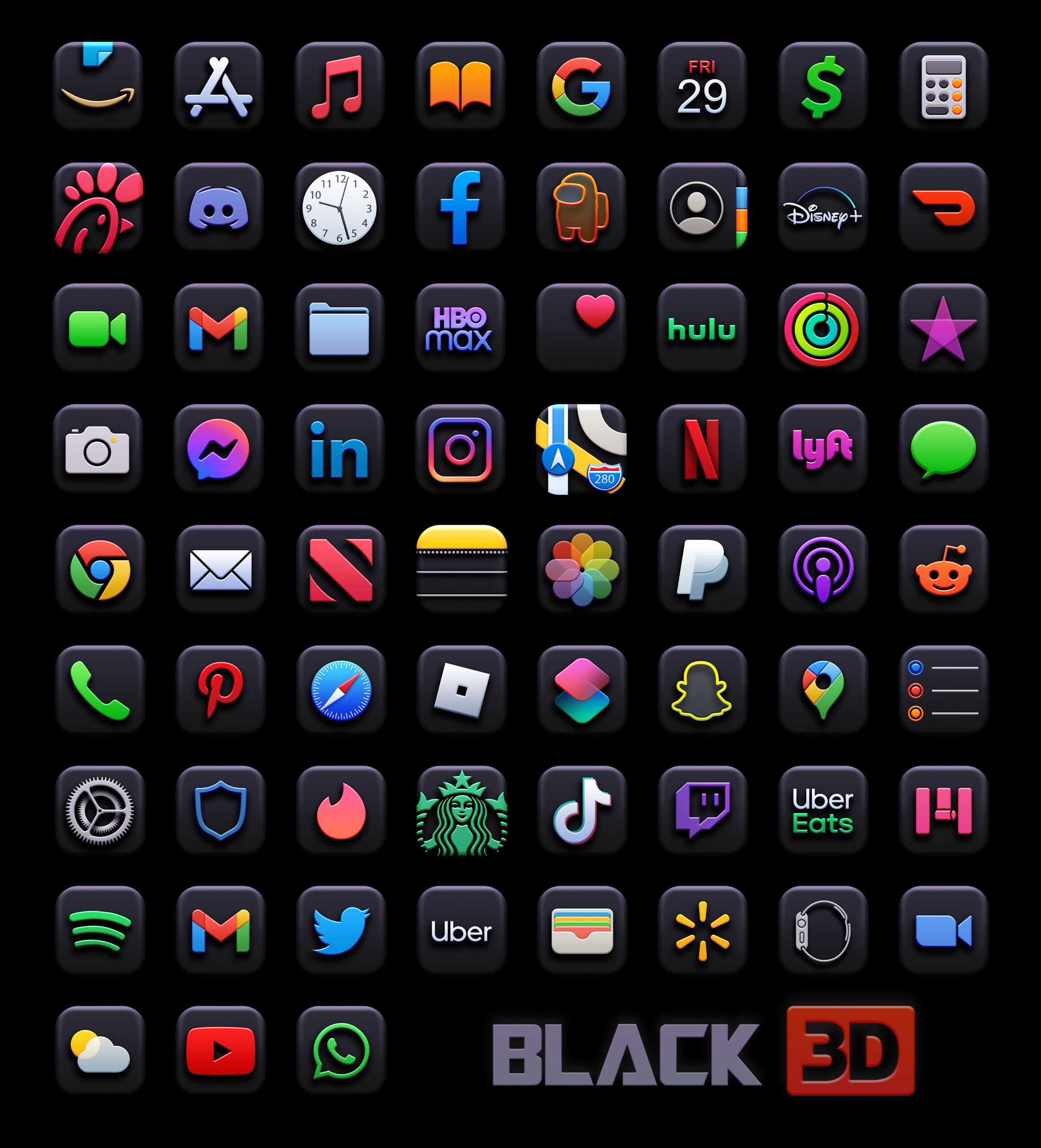 black 3d app icons pack preview 3