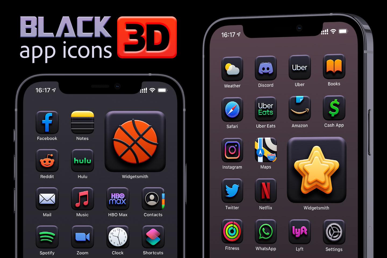 black 3d app icons pack