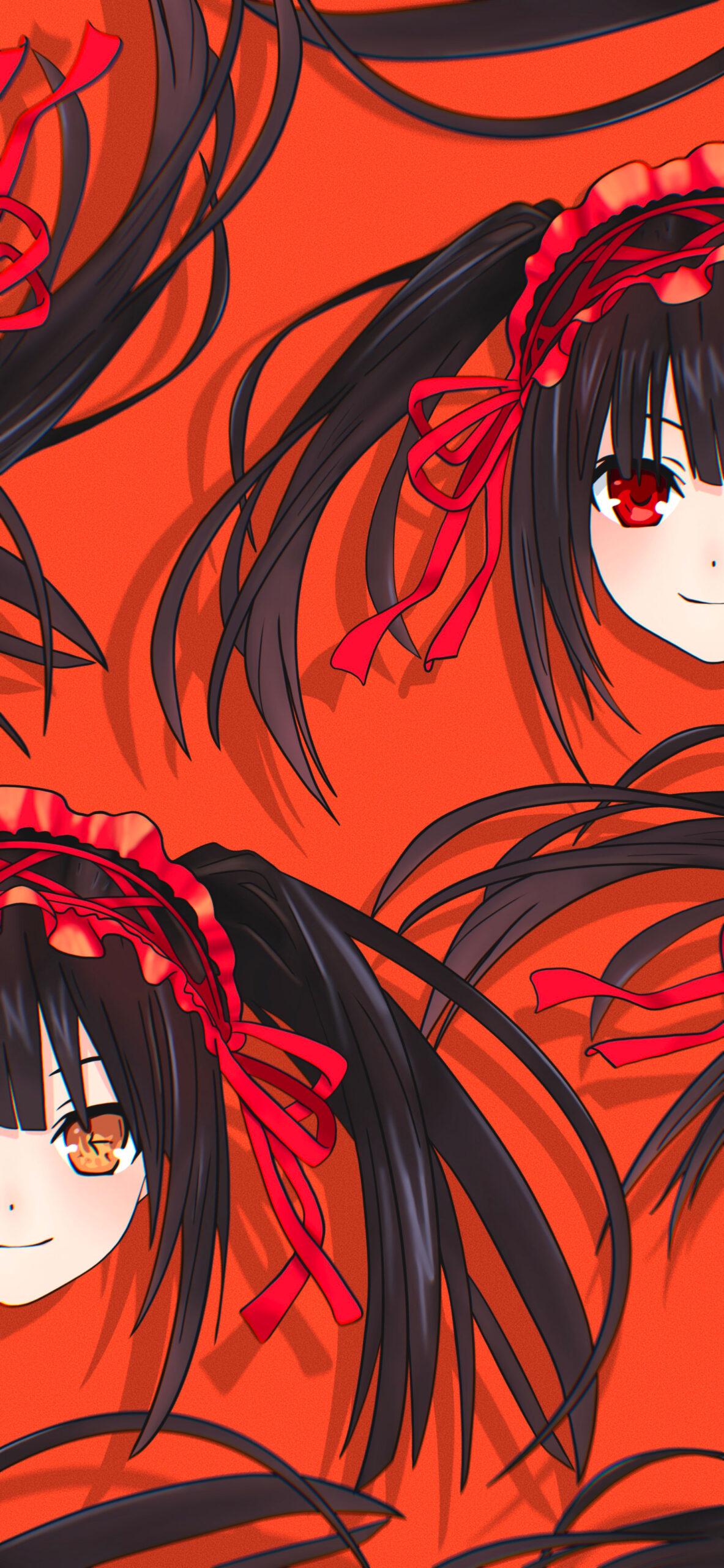 date a live kurumi tokisaki orange wallpaper