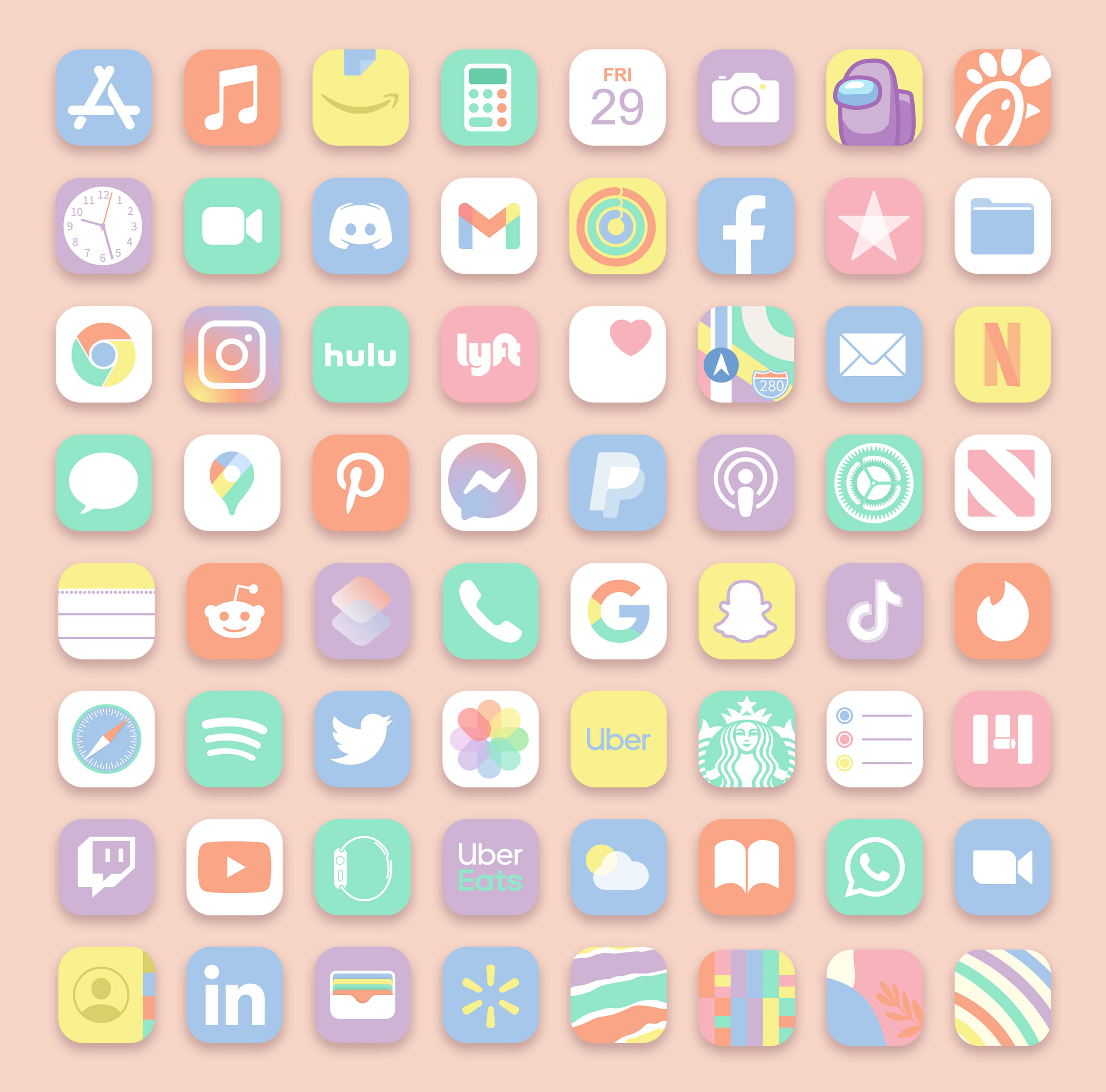 pastel ios app icons pack preview 3