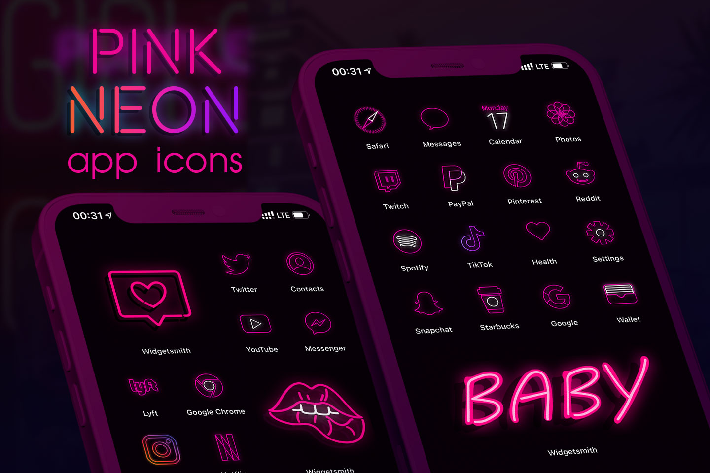 pink neon app icons pack