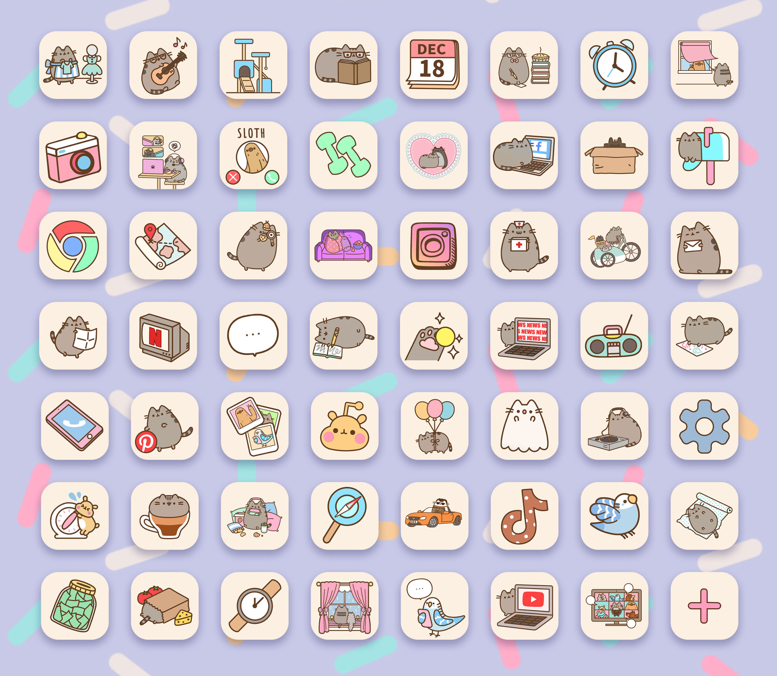 pusheen app icons pack preview 3