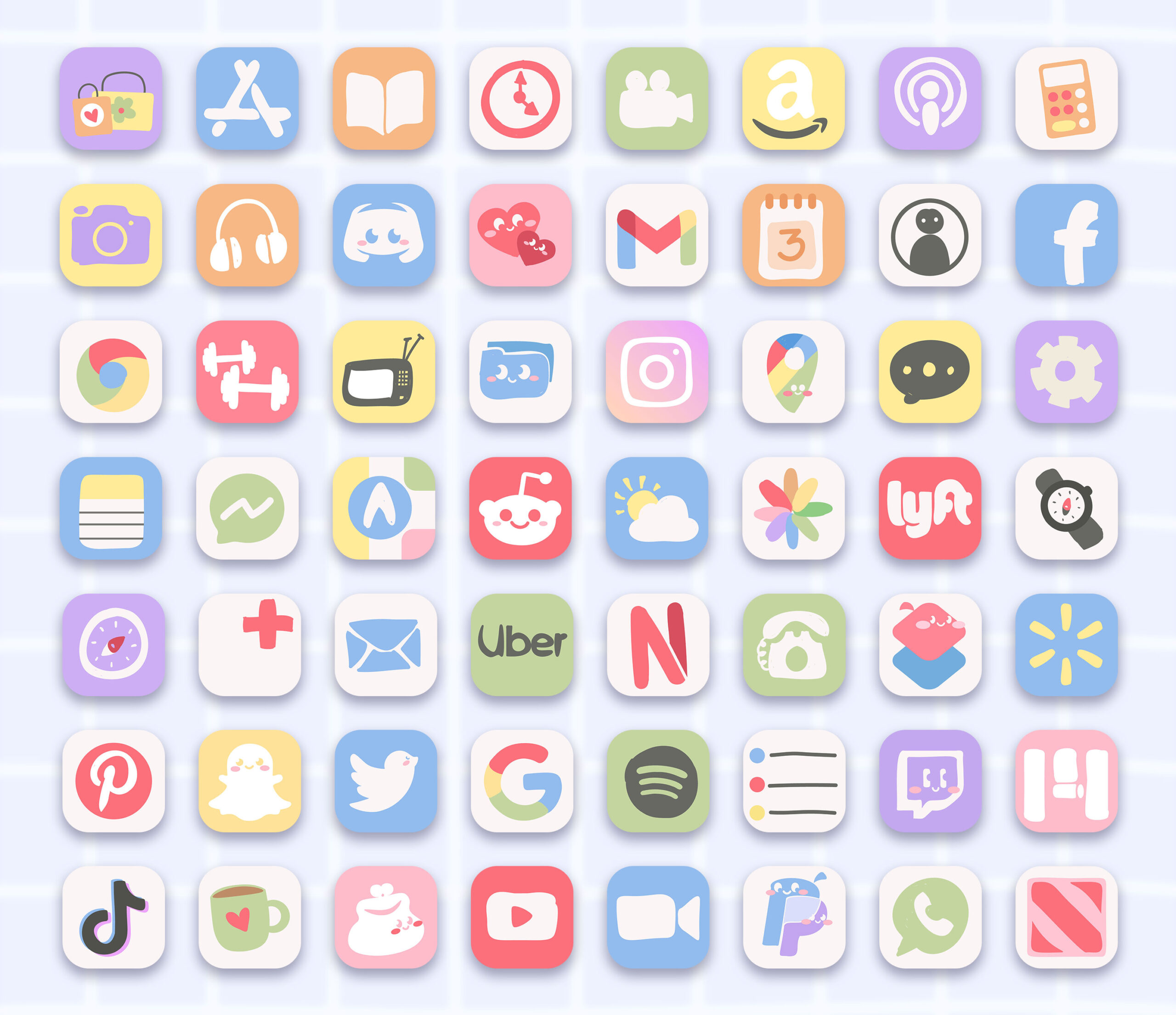 cute doodle app icons pack preview 2