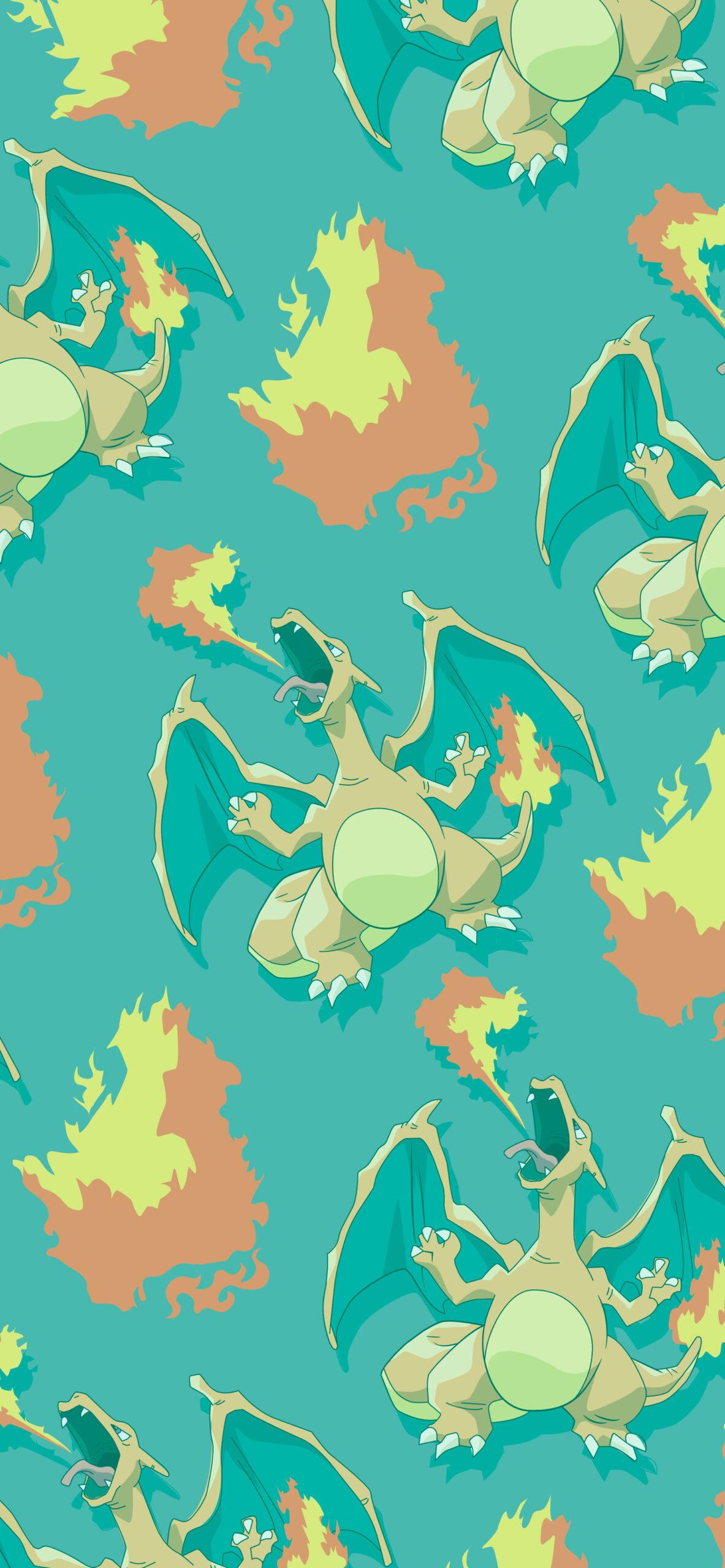 pokemon charizard green background