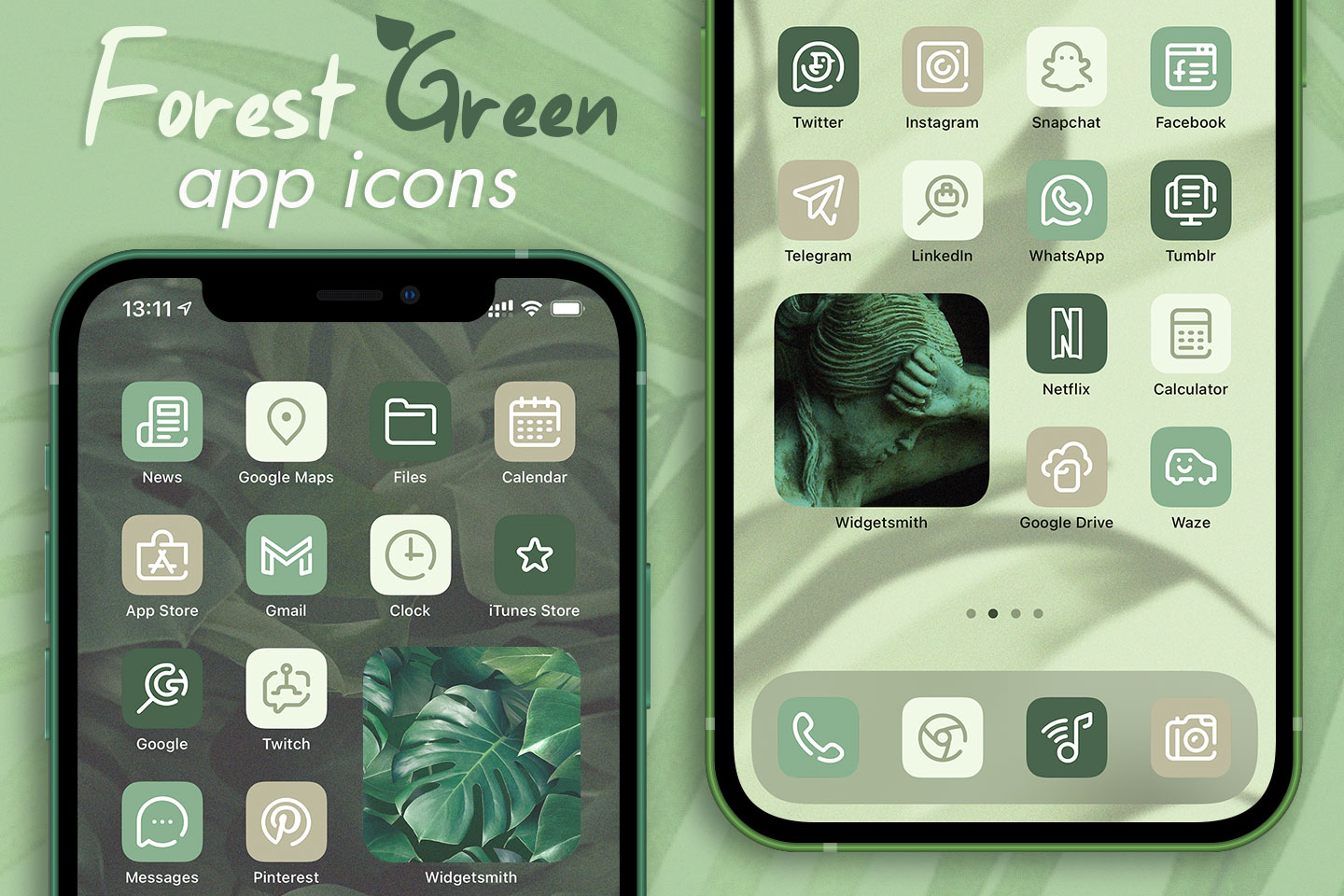 forest green app icons pack