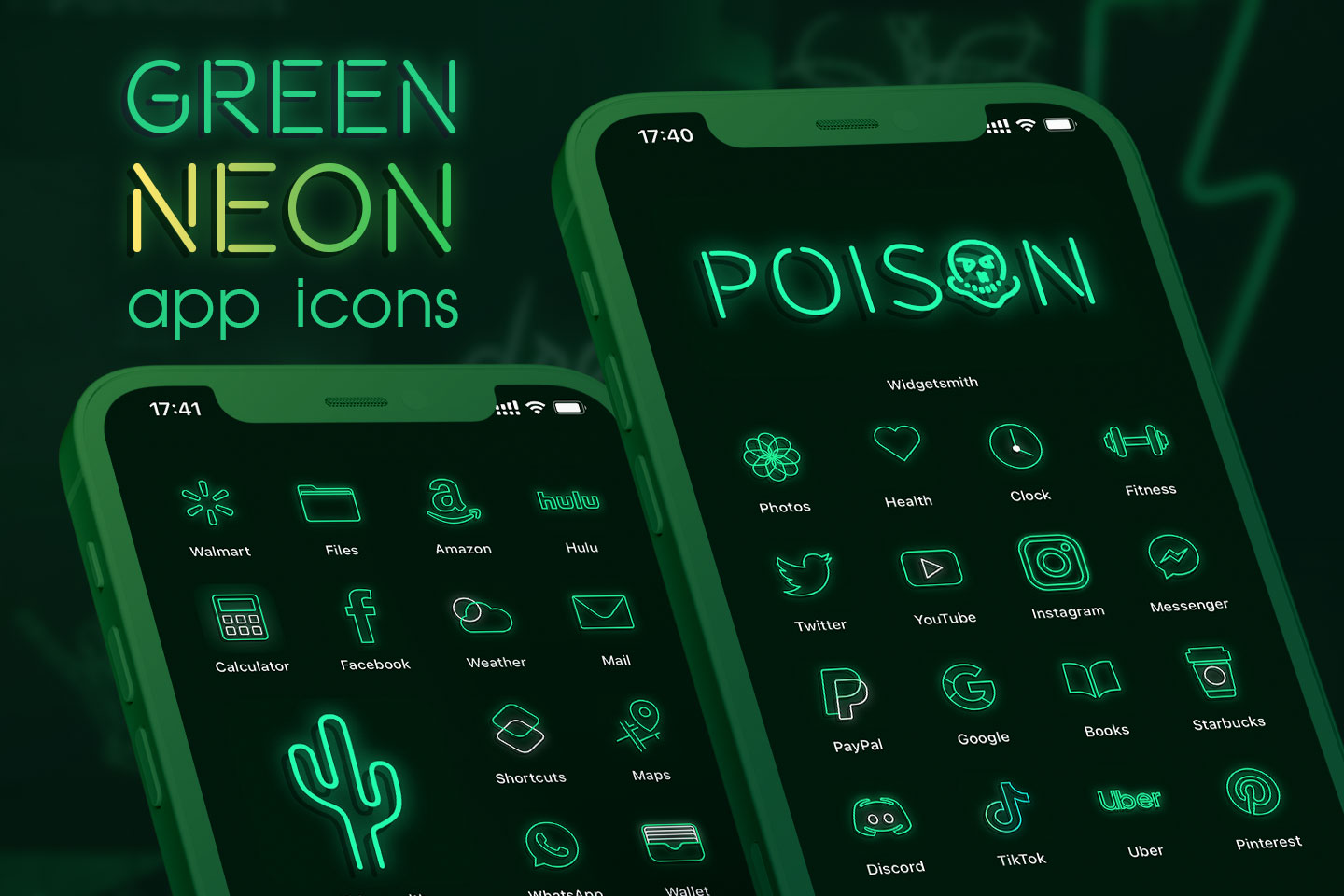 green neon app icons pack