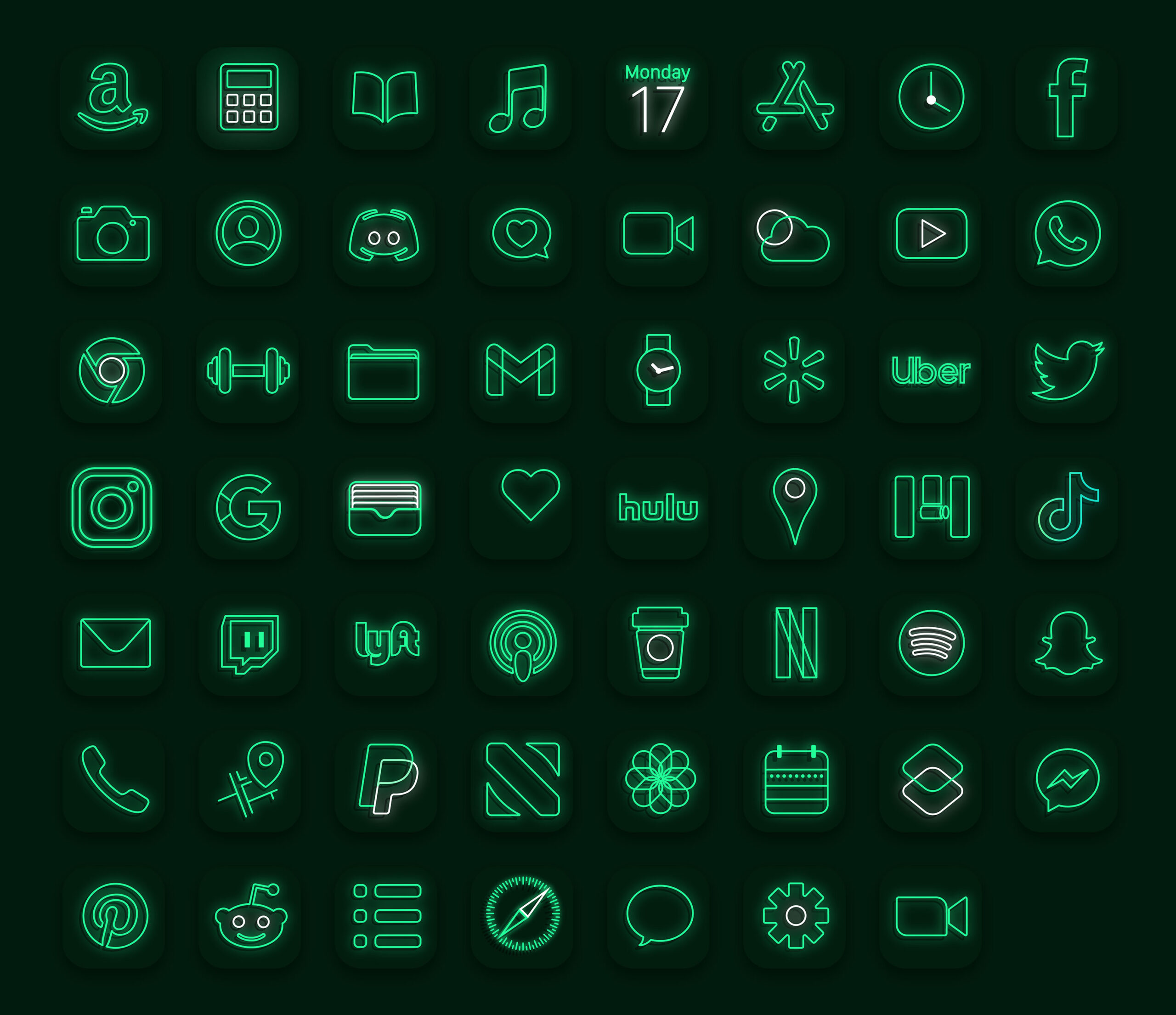 purple neon app icons pack preview 3