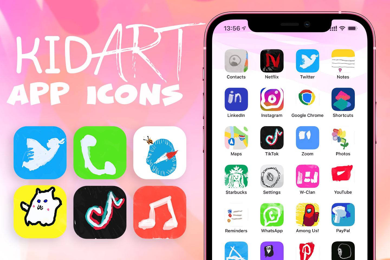 kid art app icons pack