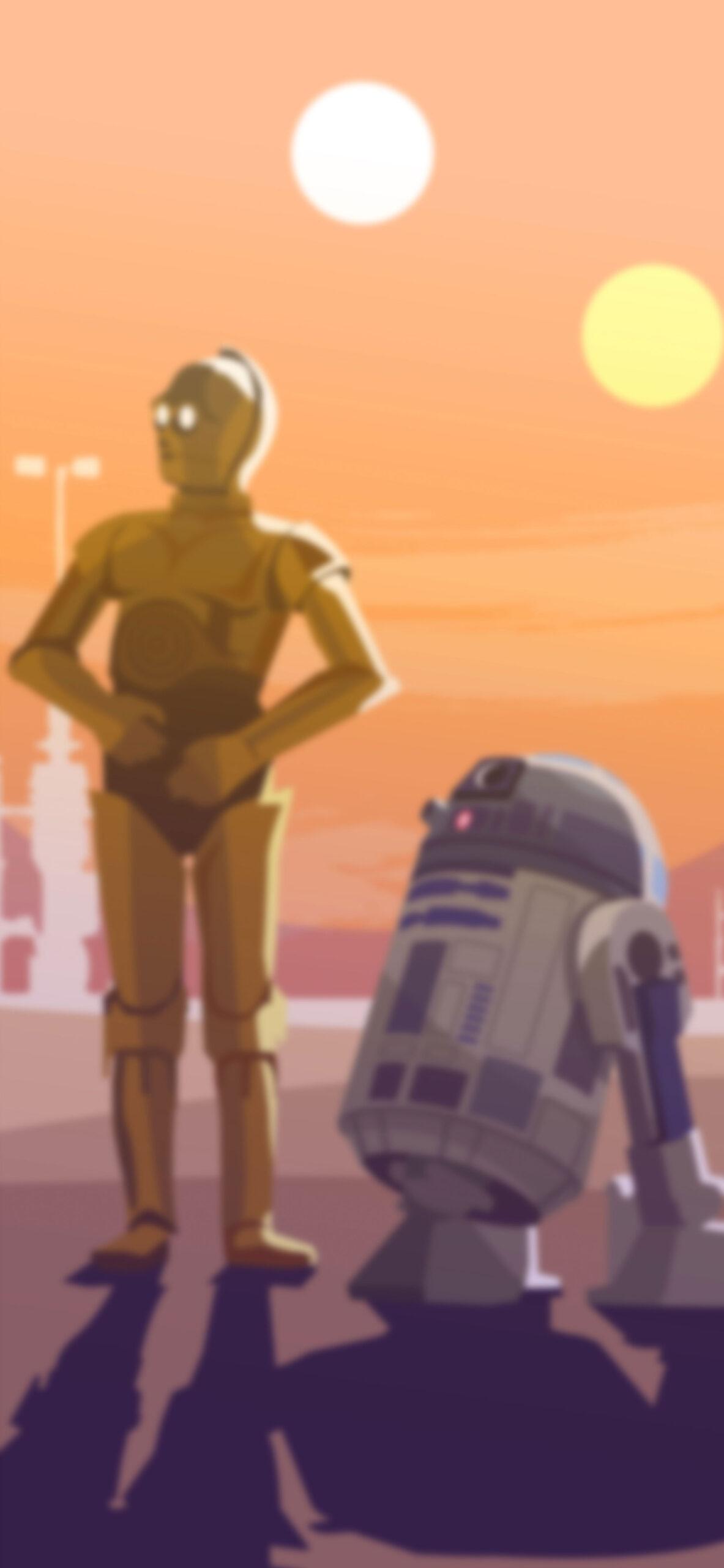 star wars c3po r2d2 blur wallpaper