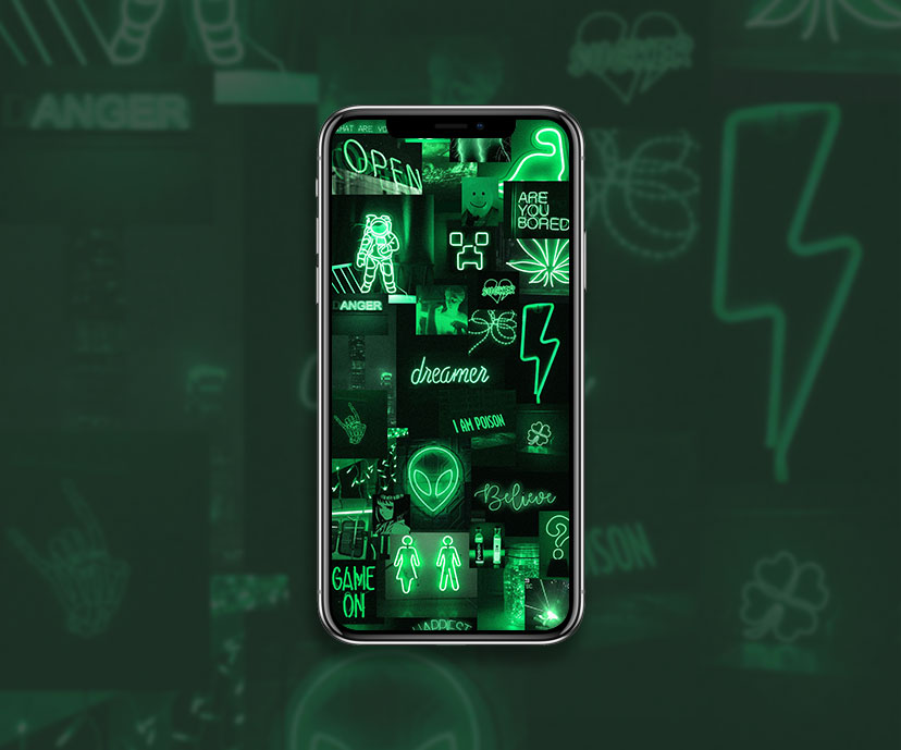 greeen neon aesthetic wallpapers collection