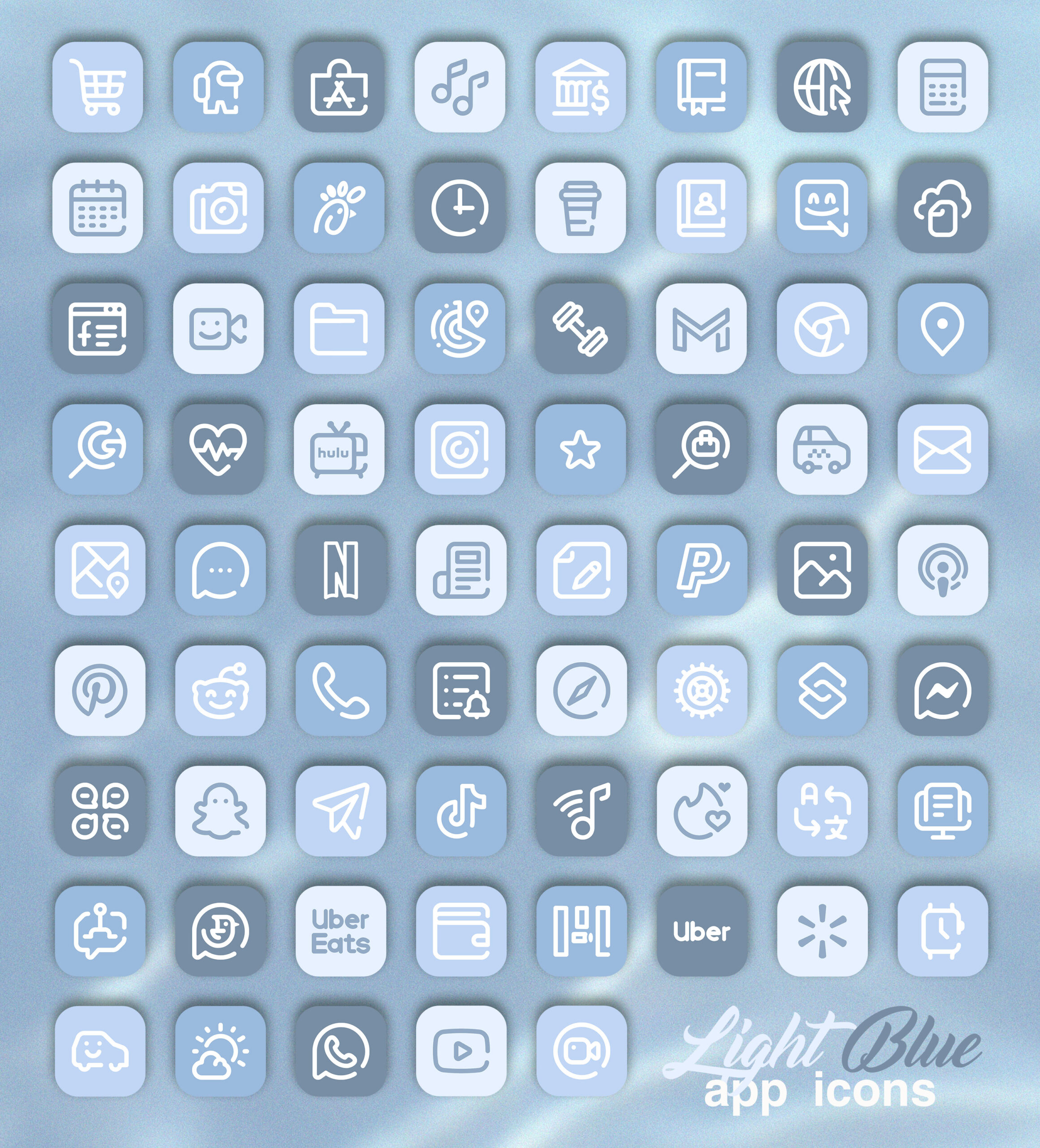 light blue app icons pack preview 2