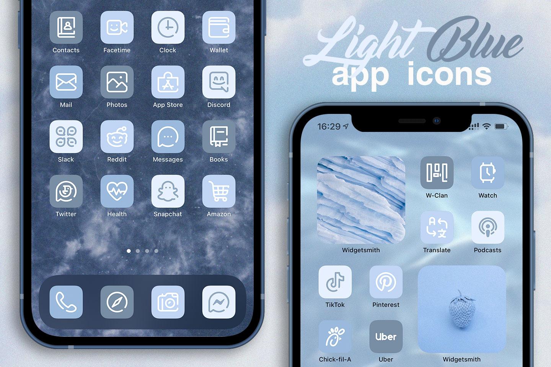 light blue app icons pack