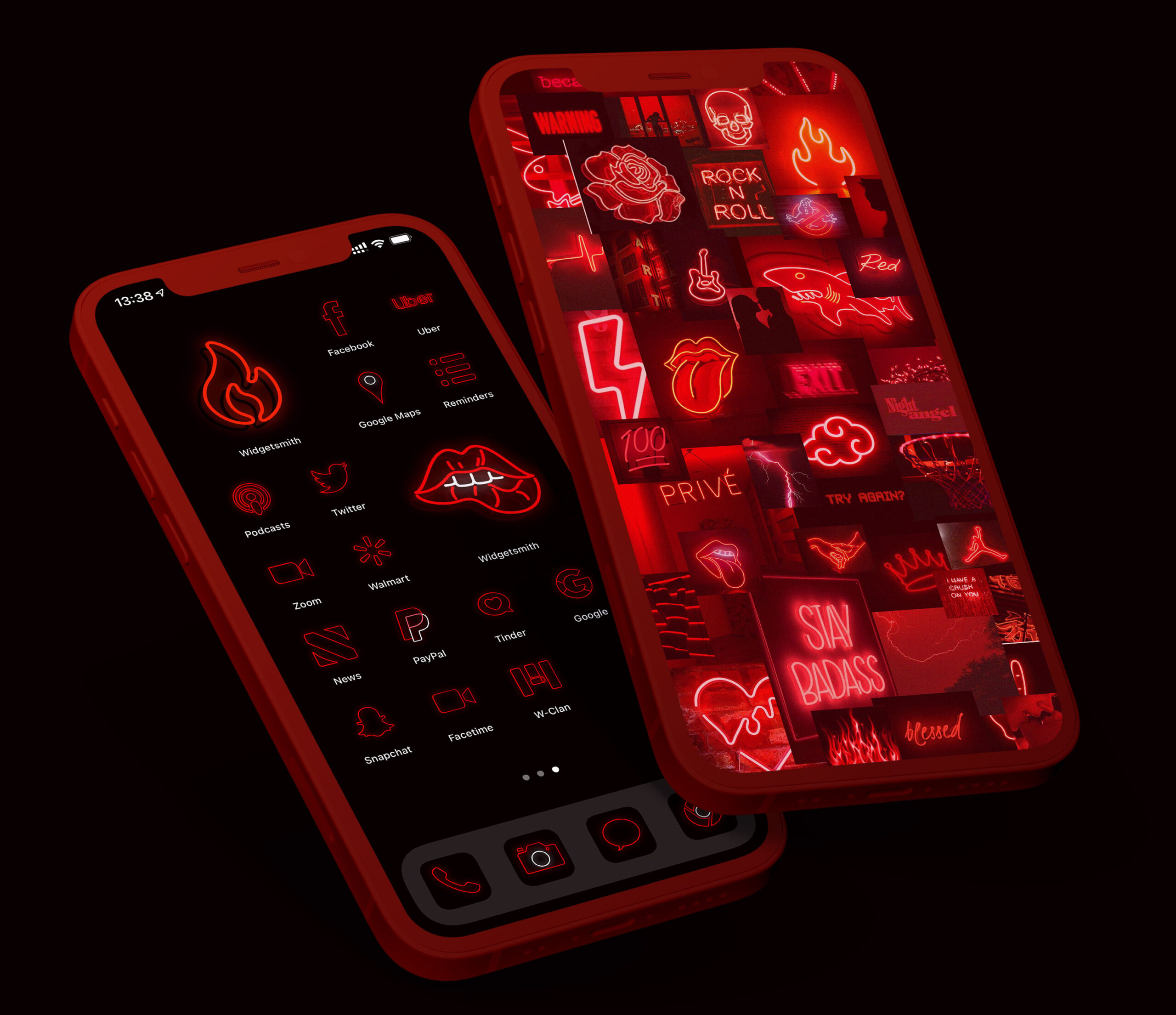red neon app icons pack preview 1