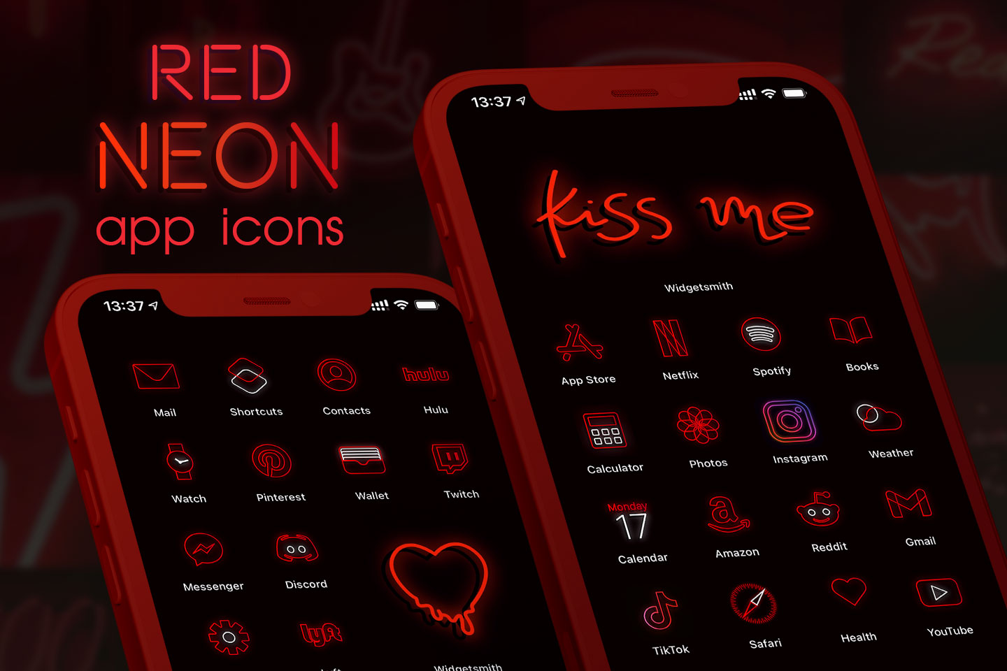 red neon app icons pack