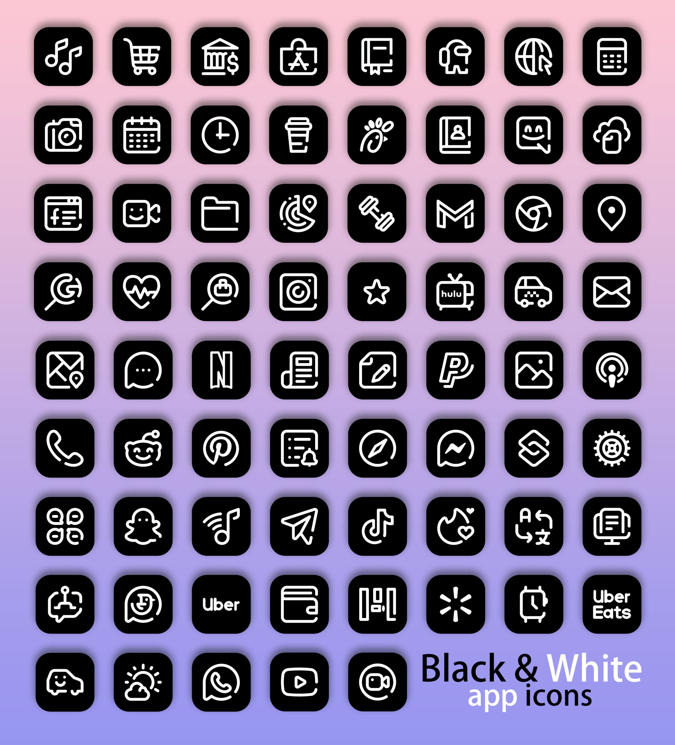 black and white app icons pack preview 2