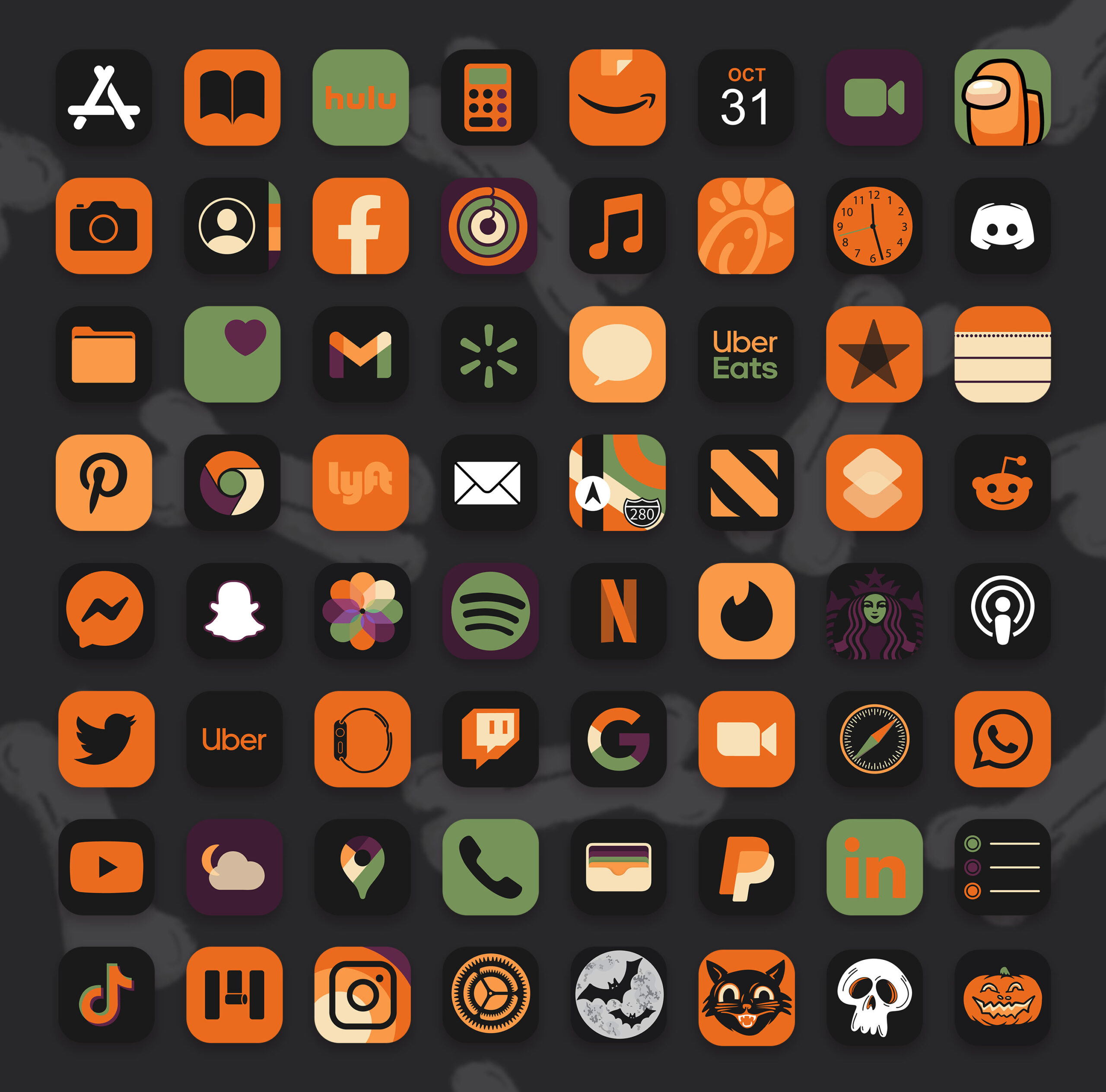 halloween minimalist app icons pack preview 2